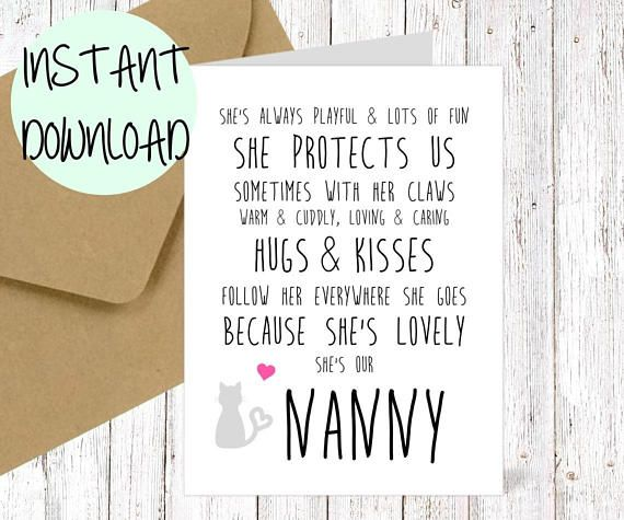 MUM NANNY Printable Mothers Day Card Nanny Mum Birthday