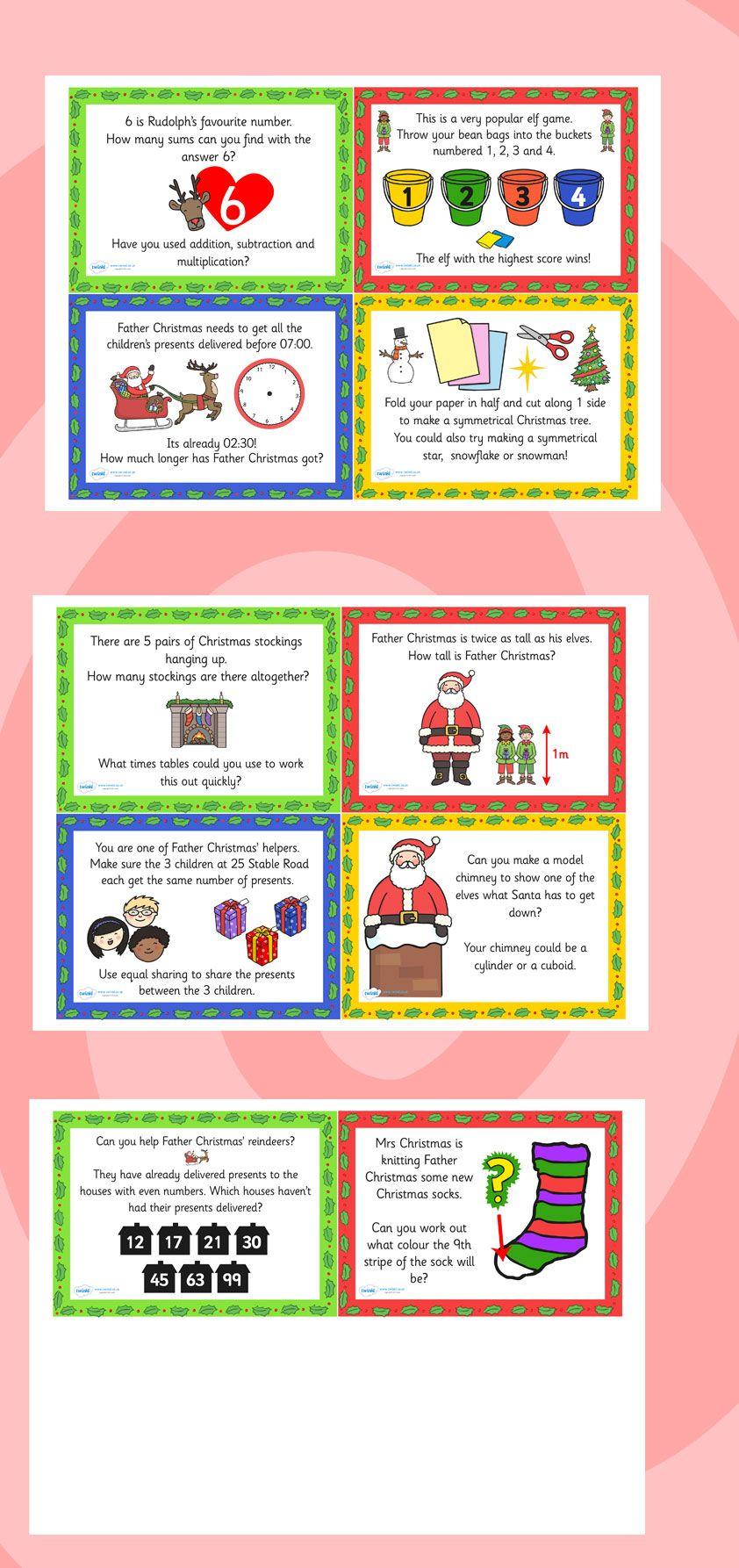 Twinkl Resources Christmas Maths Challenge Cards Printable