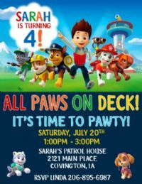 Click To See Full Size Image Paw Patrol Party Invitations 1st Birthday