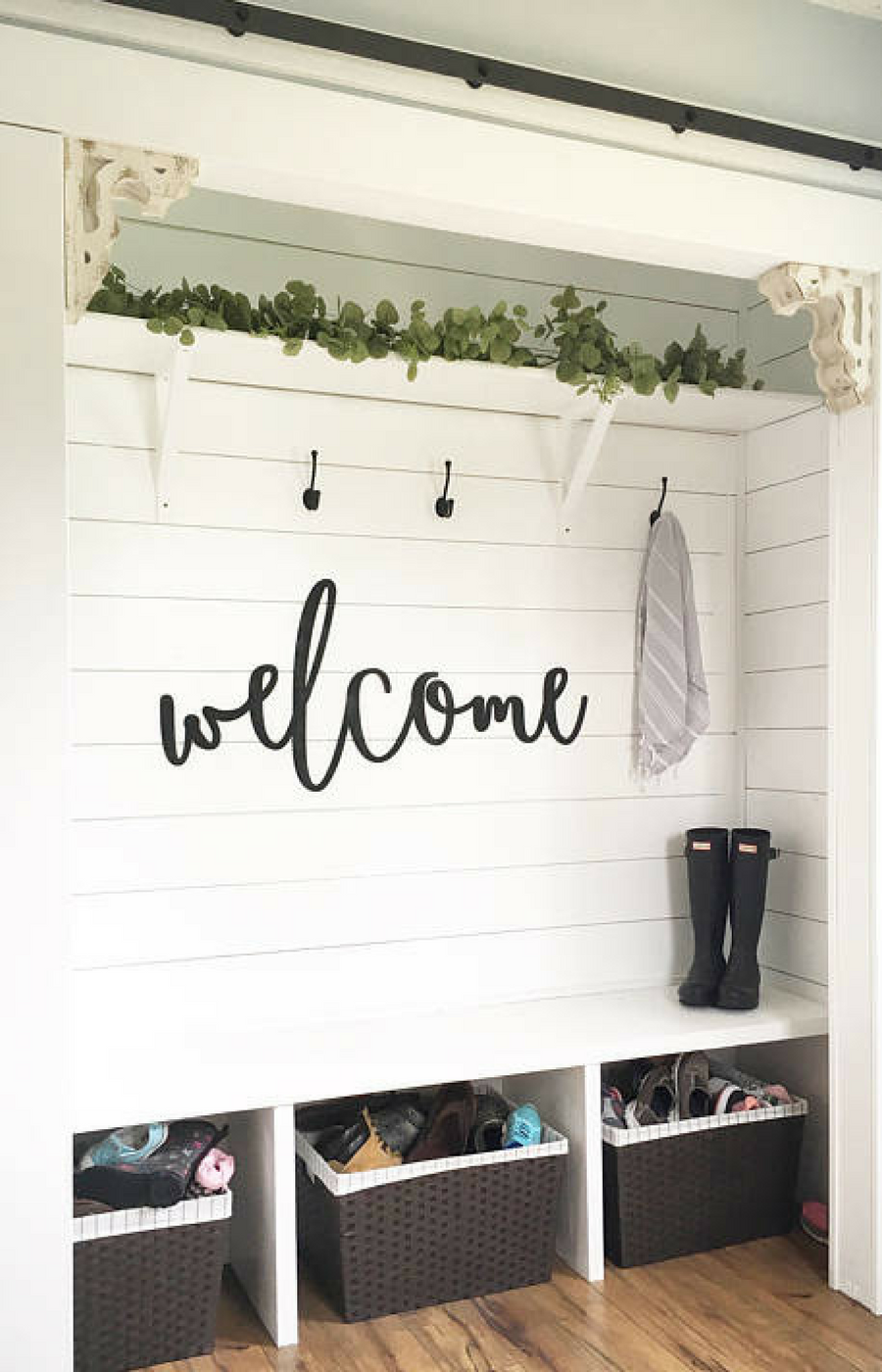 Cute Mudroom Or Entryway Decor Idea I Really Love All Of The Laser Cutouts From This Etsy Shop Welcome Wood Cutout Sign Home Remodeling Decor Home Decor