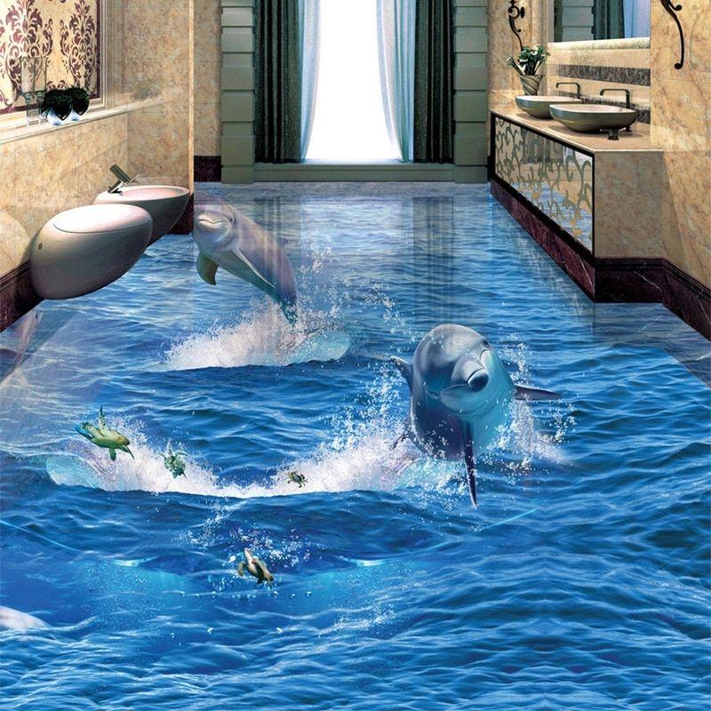 Pvc Selbstklebende Wasserdichte Kreative Springender Delphin Fototapete 3d Boden Wand Wohnzimmer Bad Tragen Rutschfes Farben Und Tapeten Badezimmer Boden Boden