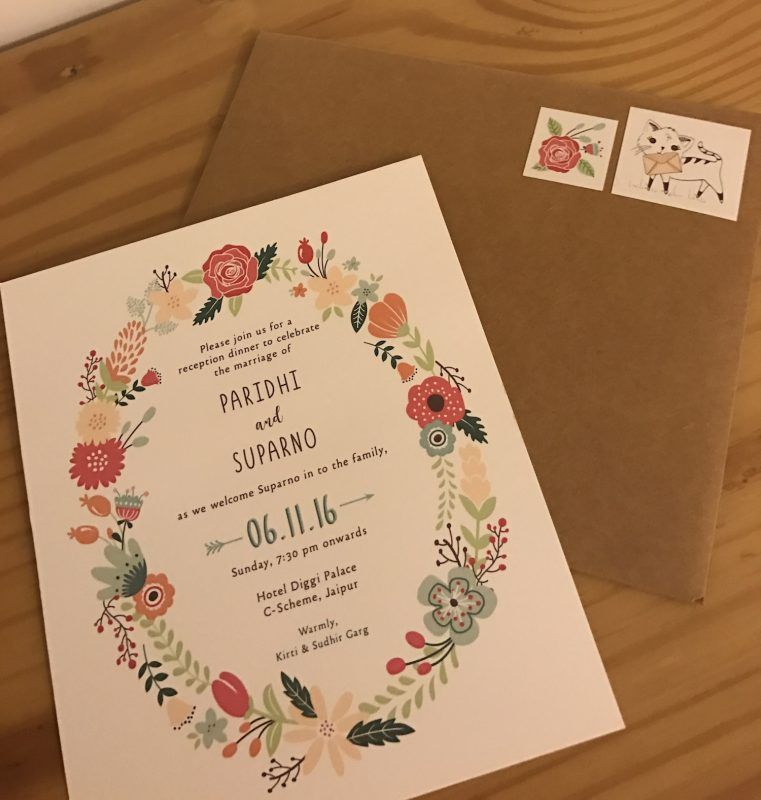 "Handmade 6/"" Square Personalised Wedding Congratulations Card Handdrawn Theme"