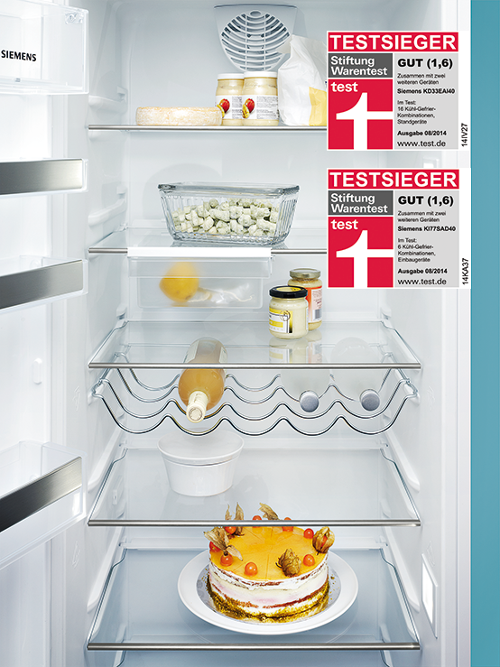 Two Siemens refrigerators are awarded by Stiftung Warentest ...