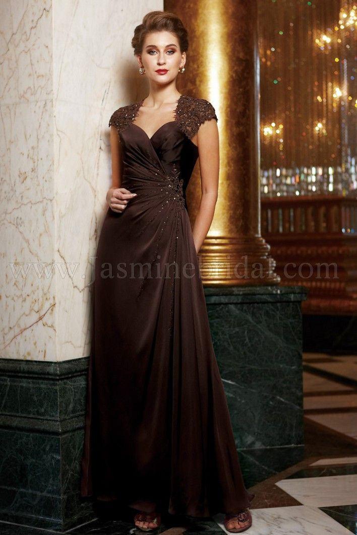 K2283-Couture Satin Back Chiffon. Available in floor, tea or knee ...