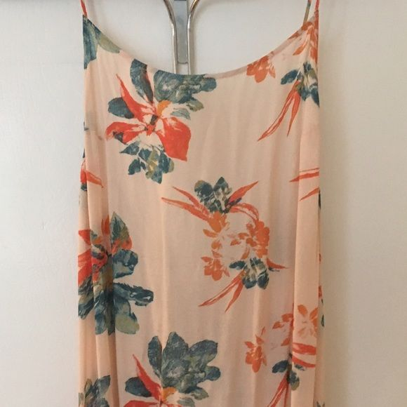 Free People Maxi Intimately Free People maxi dress. Peach color with watercolor blue and orange flowers on it. BRAND NEW! Free People Dresses Maxi