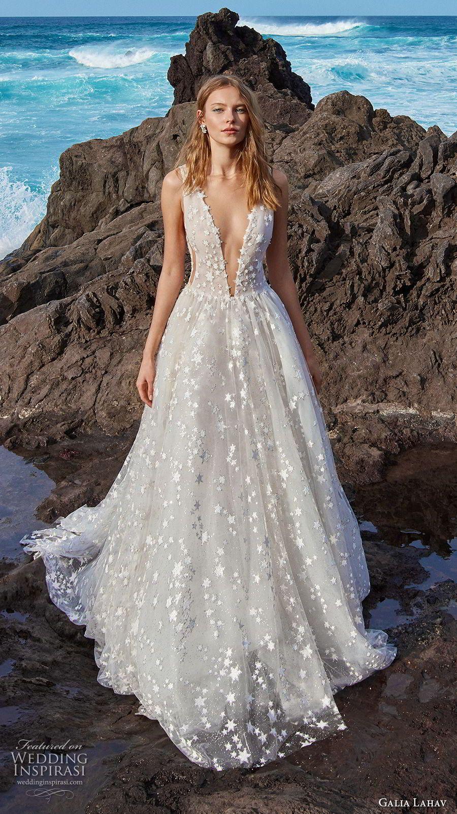galia lahav gala 2018 bridal sleeveless deep v neck full embellishment  romantic a line wedding dress open v back chapel train (4) mv -- Gala by  Galia Lahav ... 1cc85a89c