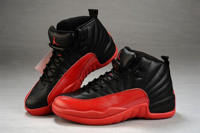 Black/Red-Michael Jordan 12 Leather Female Retro Nike Shoes
