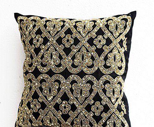 black beaded pillow covers black metallic gold pillowcases black geometric throw pillows cover