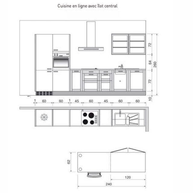 Plan de cuisine en I avec îlot central - Marie Claire Maison Идеи - plan ilot central cuisine