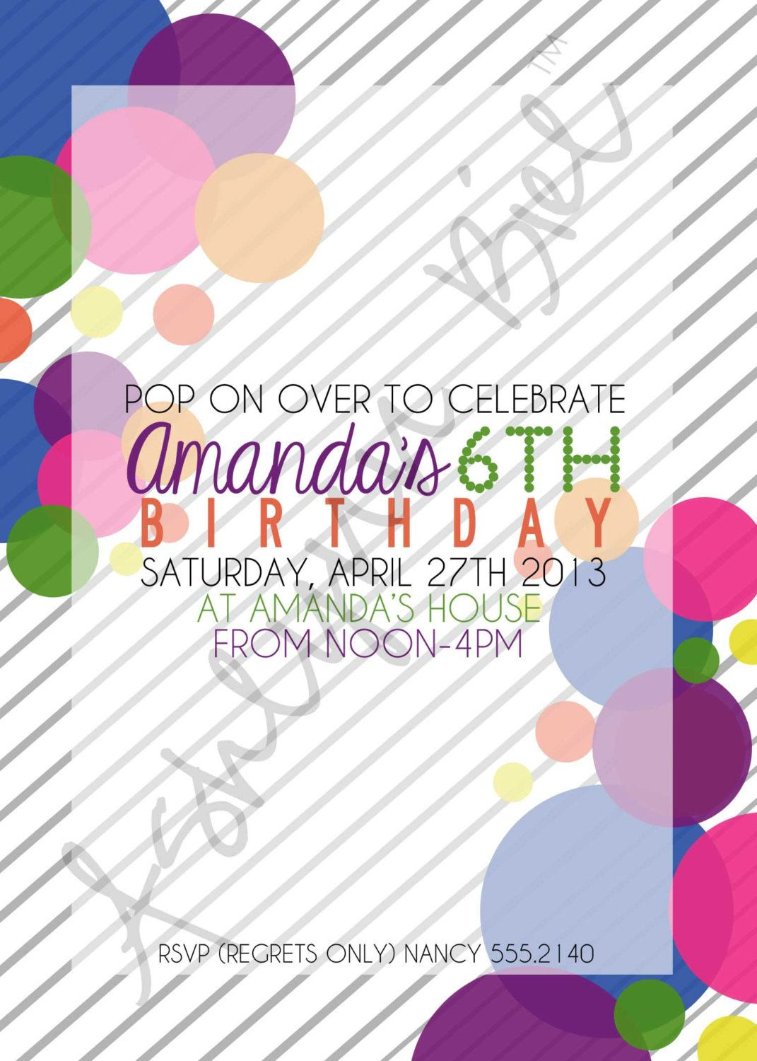 Bubble Birthday Party Invitation. $25.00, via Etsy. | Entertaining ...