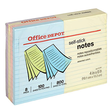 Office Depot Brand Self Stick Notes Lined 4 x 6 Assorted