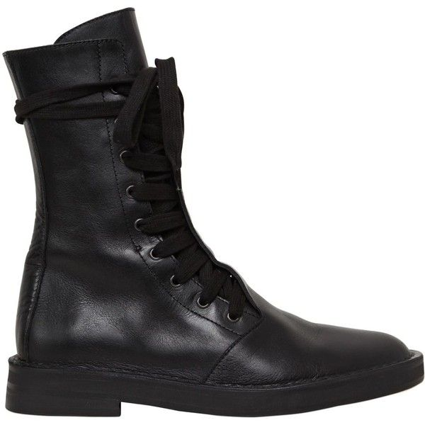 Ann Demeulemeester Women 20mm Lace-up Leather Combat Boots ($970) ❤ liked on