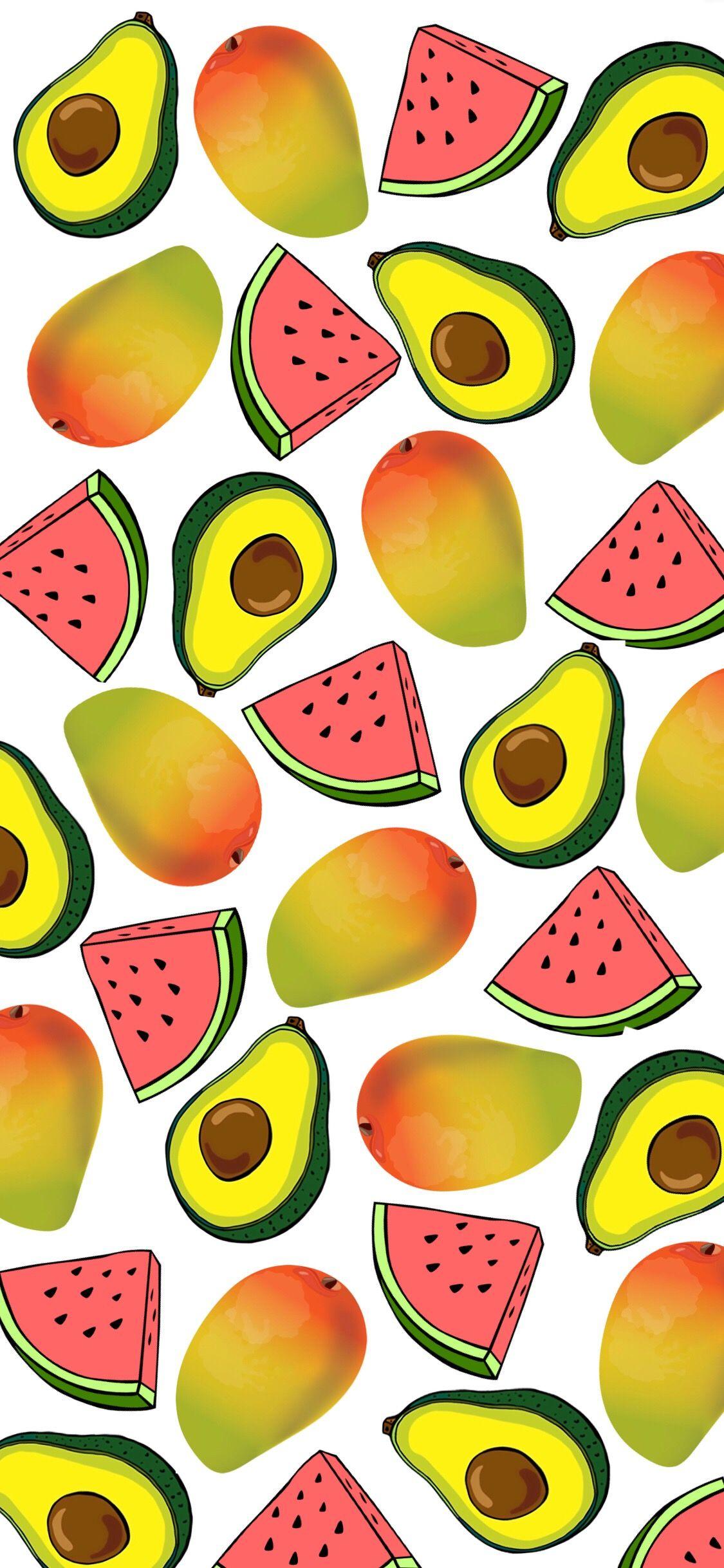 watermellon avocado mango iphone wallpaper