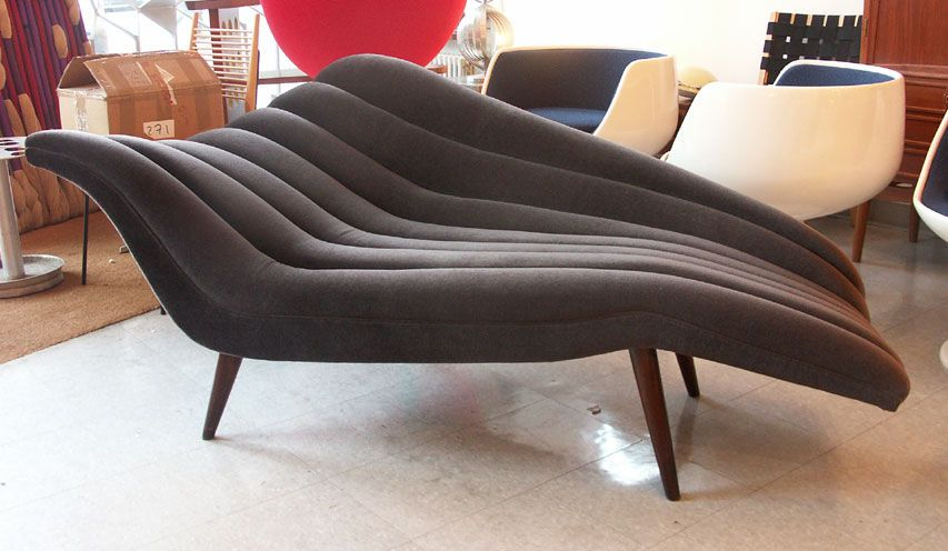 Ultra chic chaise lounge modernist fainting couch for Couch with 2 chaise lounges