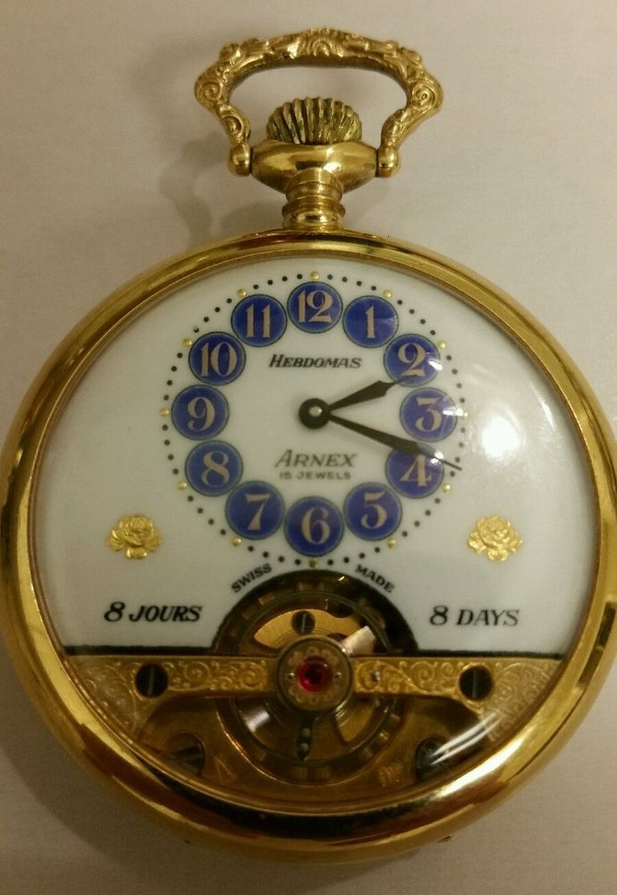 Vintage hebdomas arnex 8 day, 8 jours. 15 jewels. Rolled gold plated. Working #Hebdomas