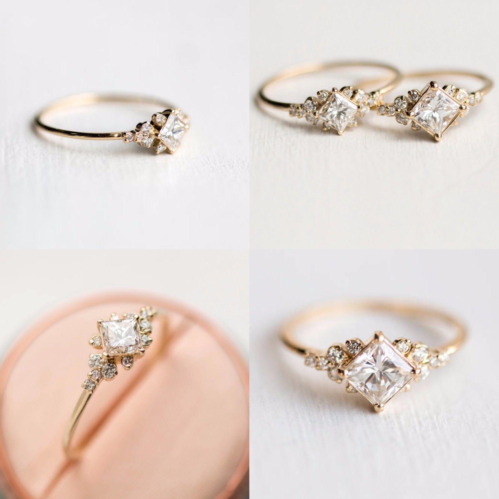 Fashion White Topaz 18K Yellow Gold Filled Wedding Engagement Ring Size 6-10