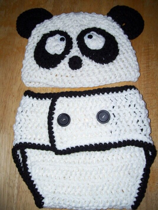 panda hat and diaper cover | Proyectos que intentar | Pinterest
