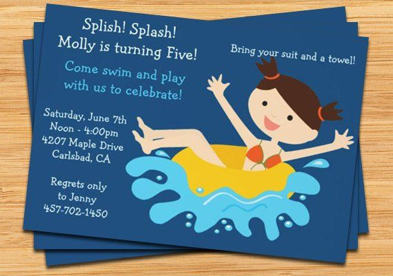 Kids Pool Party Birthday Invitation Print At Home Or E