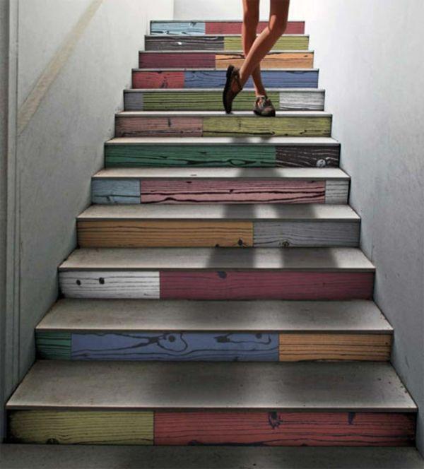 holztreppe design ideen mehrfarbige stufen boden- und - holz treppe design atmos studio