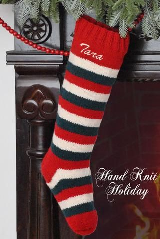 red white green striped christmas stocking - Striped Christmas Stockings
