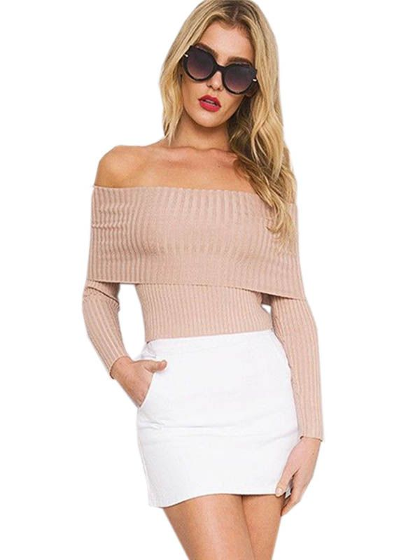 290d3edeee Pale pink sexy off shoulder ribbed jumper