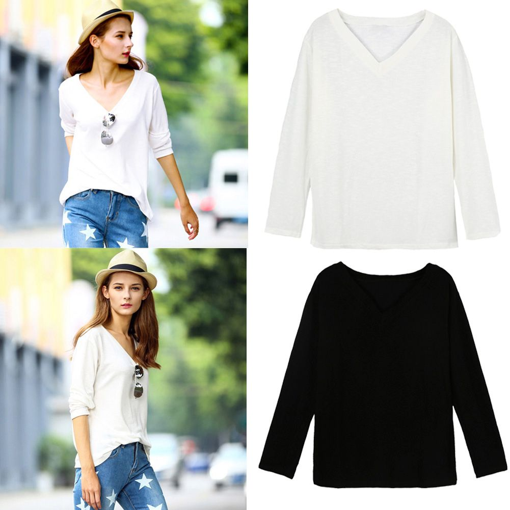 Fashion Women Girl T-Shirt V-Neck Long Sleeve Solid Color Pullover ...