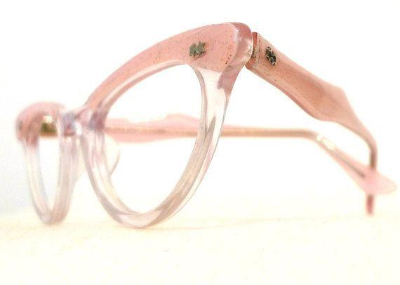 Vintage Pink Sparks Eyeglasses Frames, Rockabilly Confetti 'n Clear Horn Rimmed SunGlasses