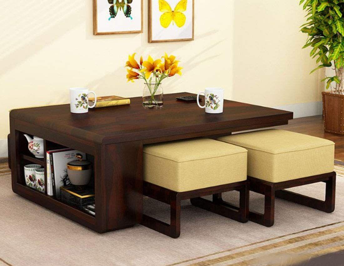 Furniturewallet Sheesham Wood Center Table For Livingroom Coffee Tablewith 4 Stools In Walnut Finish Living Room Table Living Room Coffee Table Sheesham Wood [ 850 x 1100 Pixel ]
