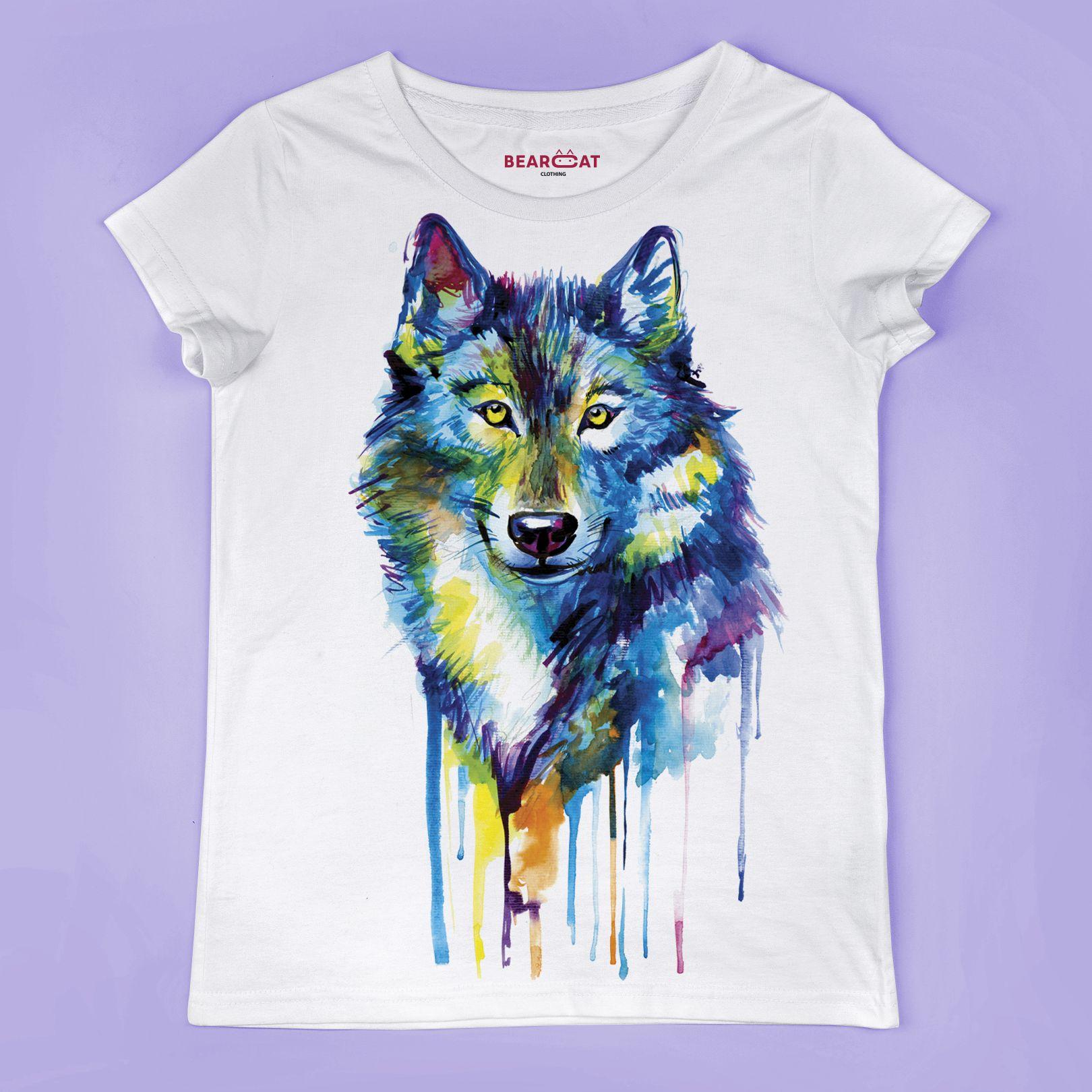 Wolf Women S T Shirt Wolf Head T Shirt Wild Dog Image Animal Print