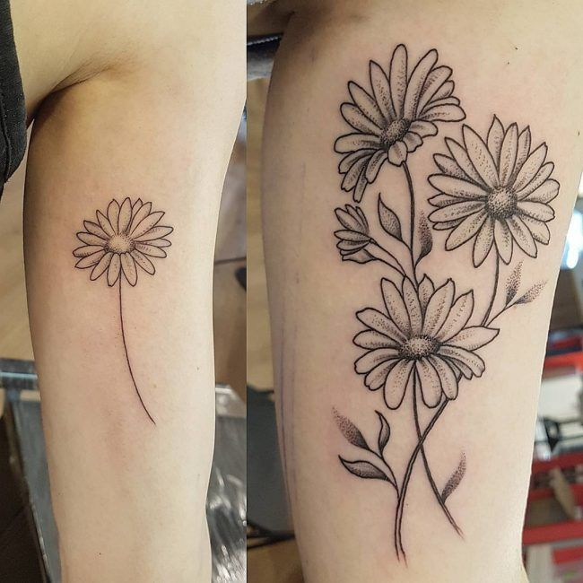 Floral Tattoo Images Designs: Daisy Flower Tattoo 75