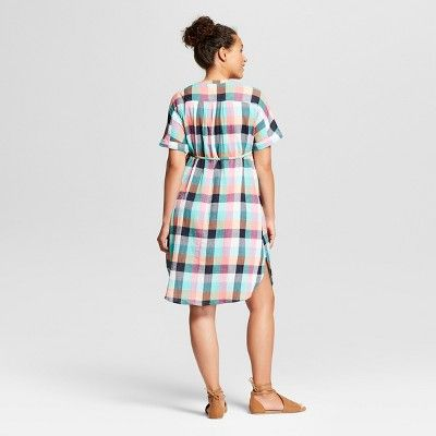 1a0b0b56032dc Maternity Dolman Tie Waist Shirt Dress - Isabel Maternity by Ingrid & Isabel  Orange/Green Multi Plaid M