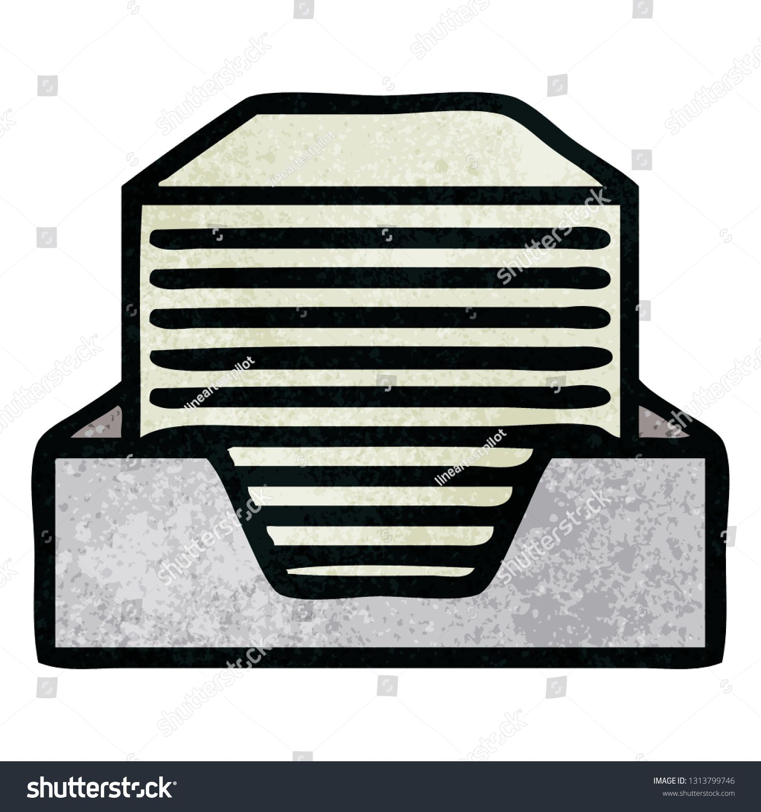 Retro Grunge Texture Cartoon Of A Stack Of Office Papers Ad Sponsored Texture Grunge Retro Cartoon Happy New Year Cards New Year Card Retro Cartoons