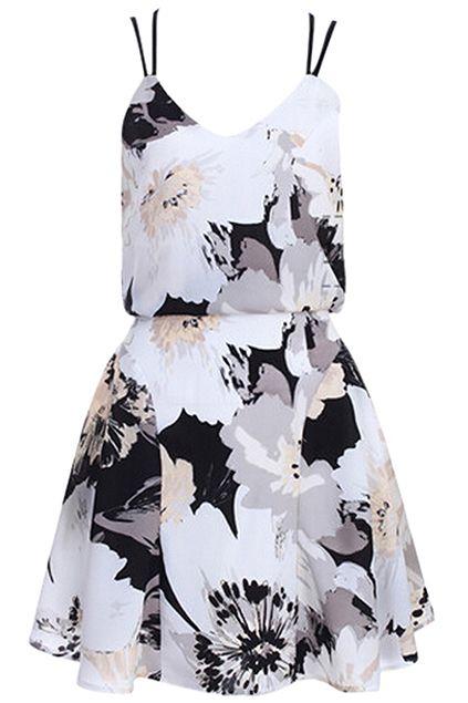 ROMWE | Romwe Floral Print V-neck Strap Backless Pleated Hem Dress, The Latest Street Fashion