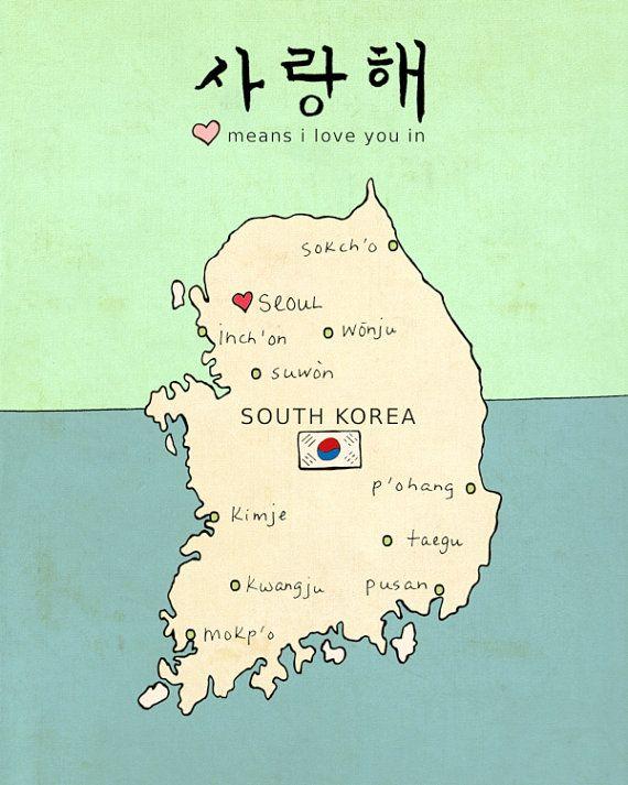 Korea Asia Map.I Love You In South Korea Typographic Print Nursery Art Travel
