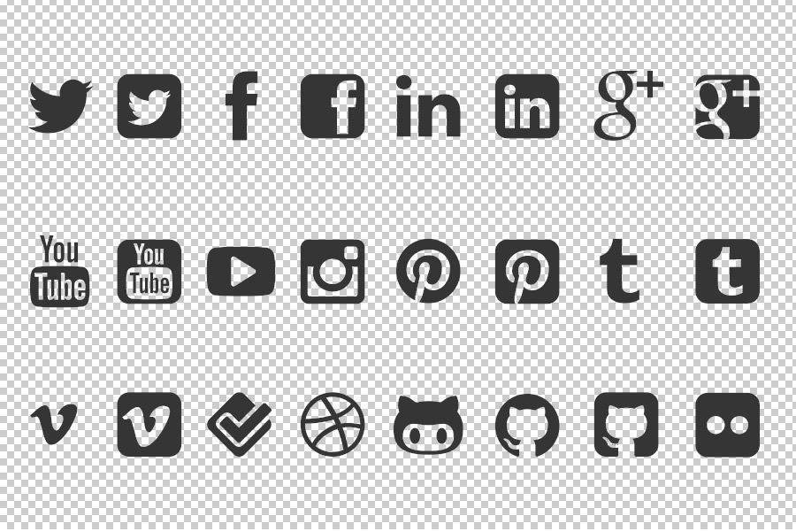 Free Social Media Icon Vector Shapes For Photoshop | Freebies ...