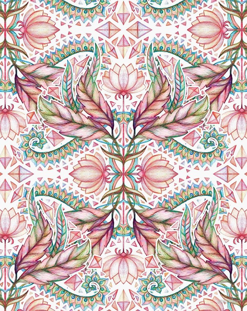 Lily, Leaf & Triangle Pattern - multi-color version by micklyn