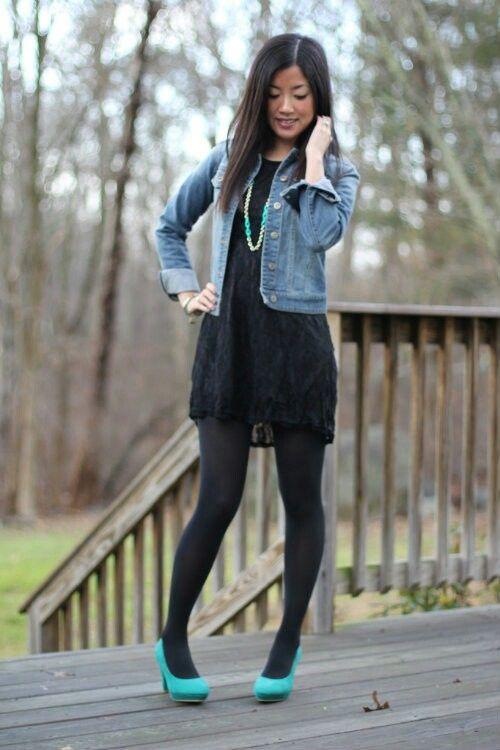 Black dress black tights denim