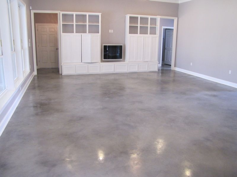 Grey stained concrete floors gray and white stained floor home diy pinterest concrete - Cement basement floor ideas ...