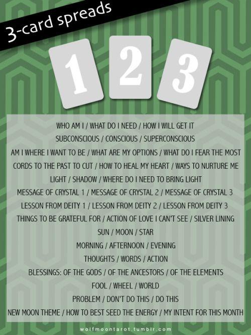 3 Card Spreads | Tarot | Tarot, Tarot card spreads, 3 card