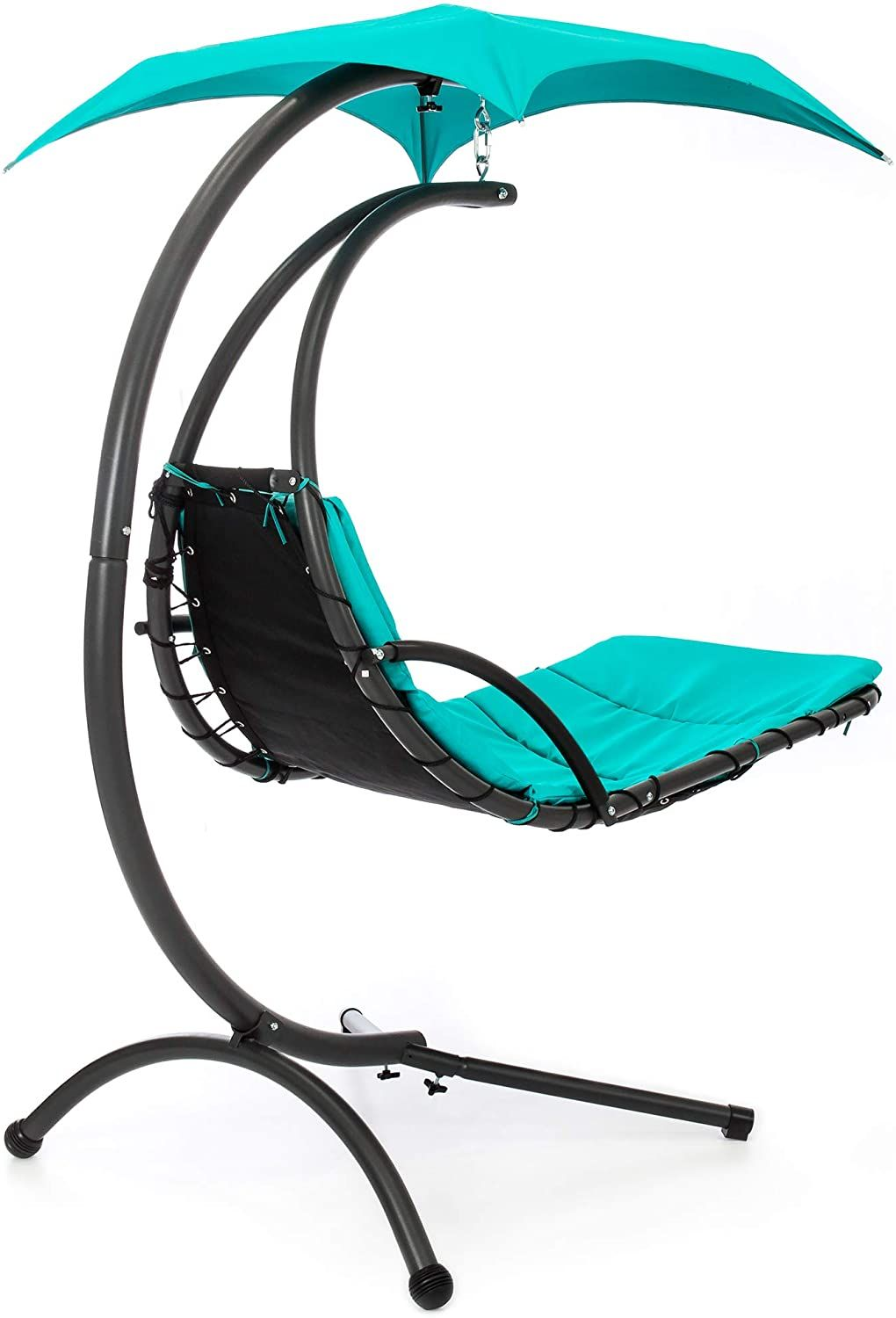 Stand Curved Chaise Lounge Chair Swing For Backyard With Pillow In 2020 Chaise Lounge Chair Lounge Chair Outdoor Swinging Chair
