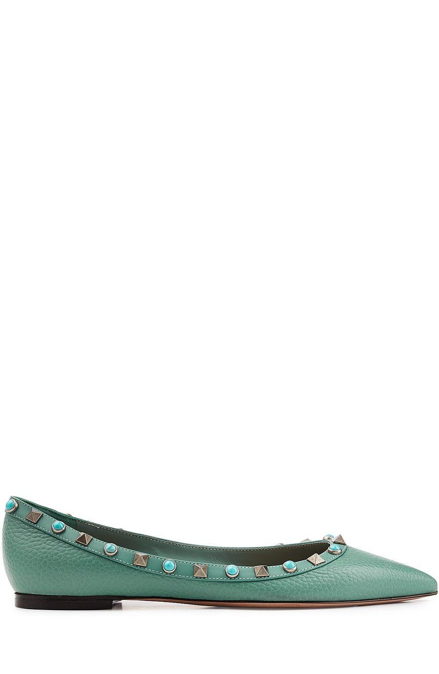 Heels for dark green dress  Rockstud Rolling Leather Ballerinas Dark Greee  Pinterest