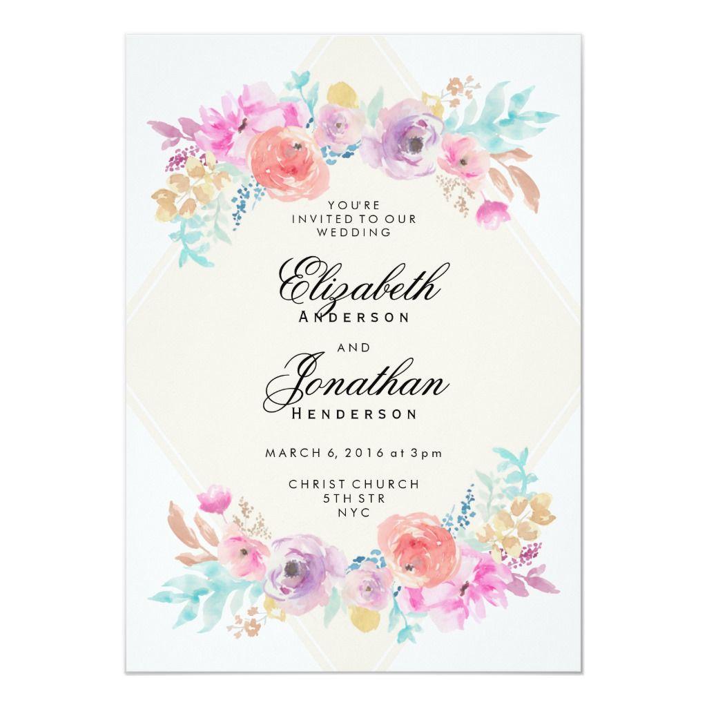 Pastel Watercolor Flowers Wedding Invitation Zazzle Co Uk Watercolor Flowers Wedding Invitation Pastel Wedding Invitations Flower Wedding Invitation
