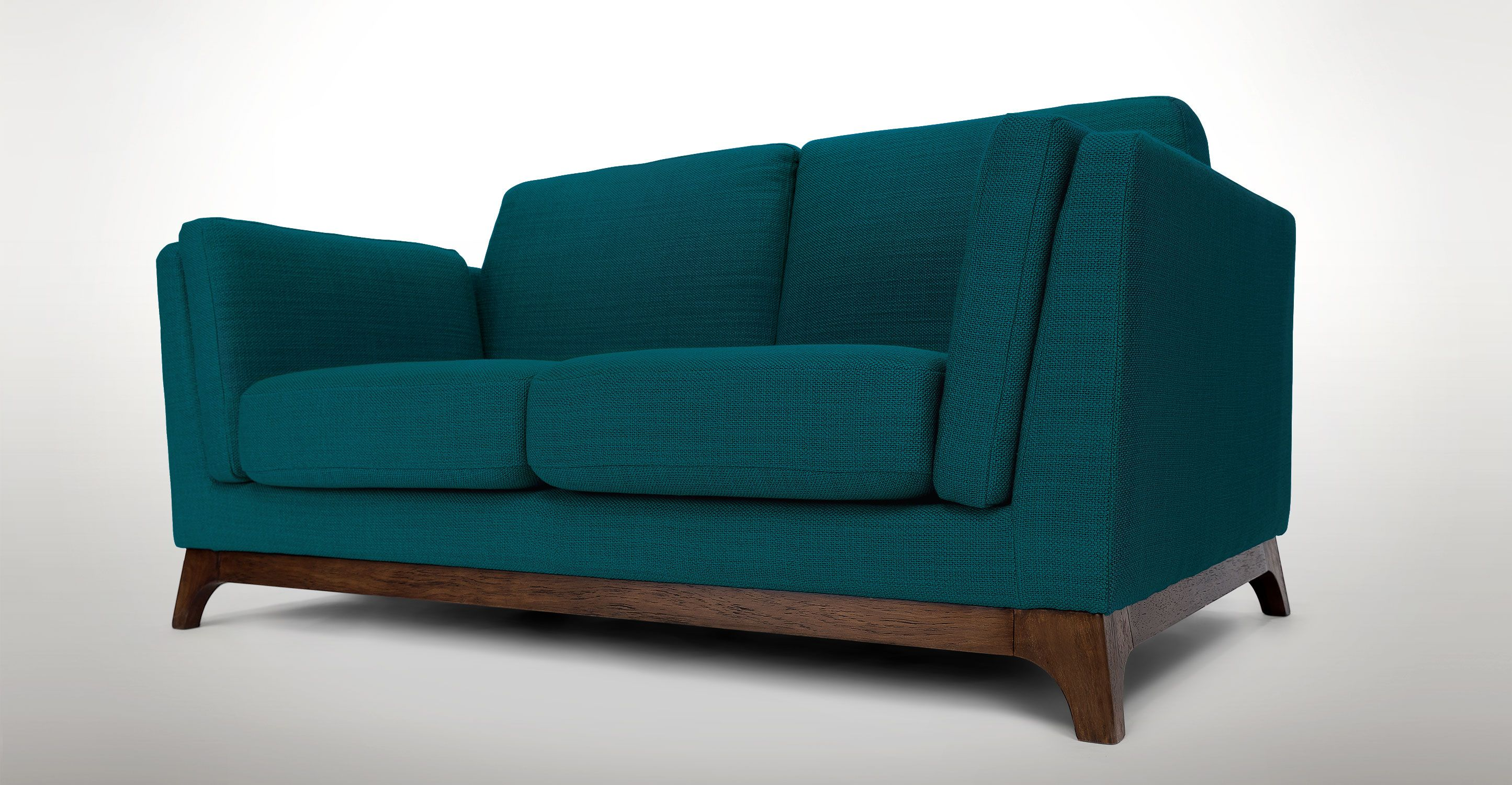 Lagoon Blue Loveseat With Solid Wood Legs Article Ceni Modern
