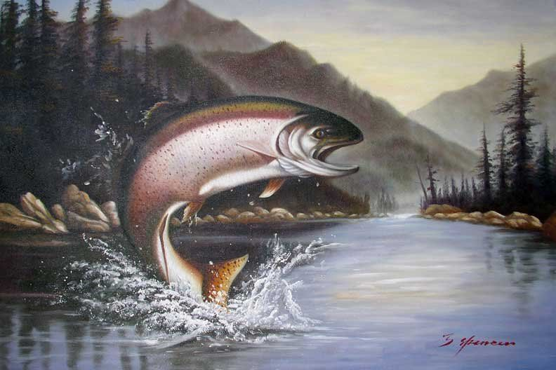 Rainbow Trout Jumping Fishing Lake Mountains Painting-in ...
