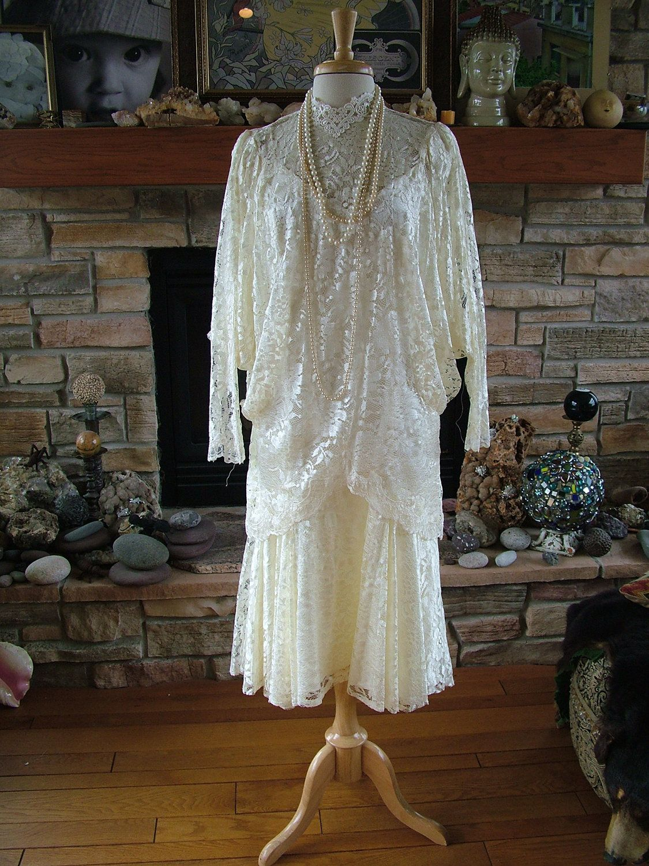 Wedding dress vintage bridal s s s style lace flapper