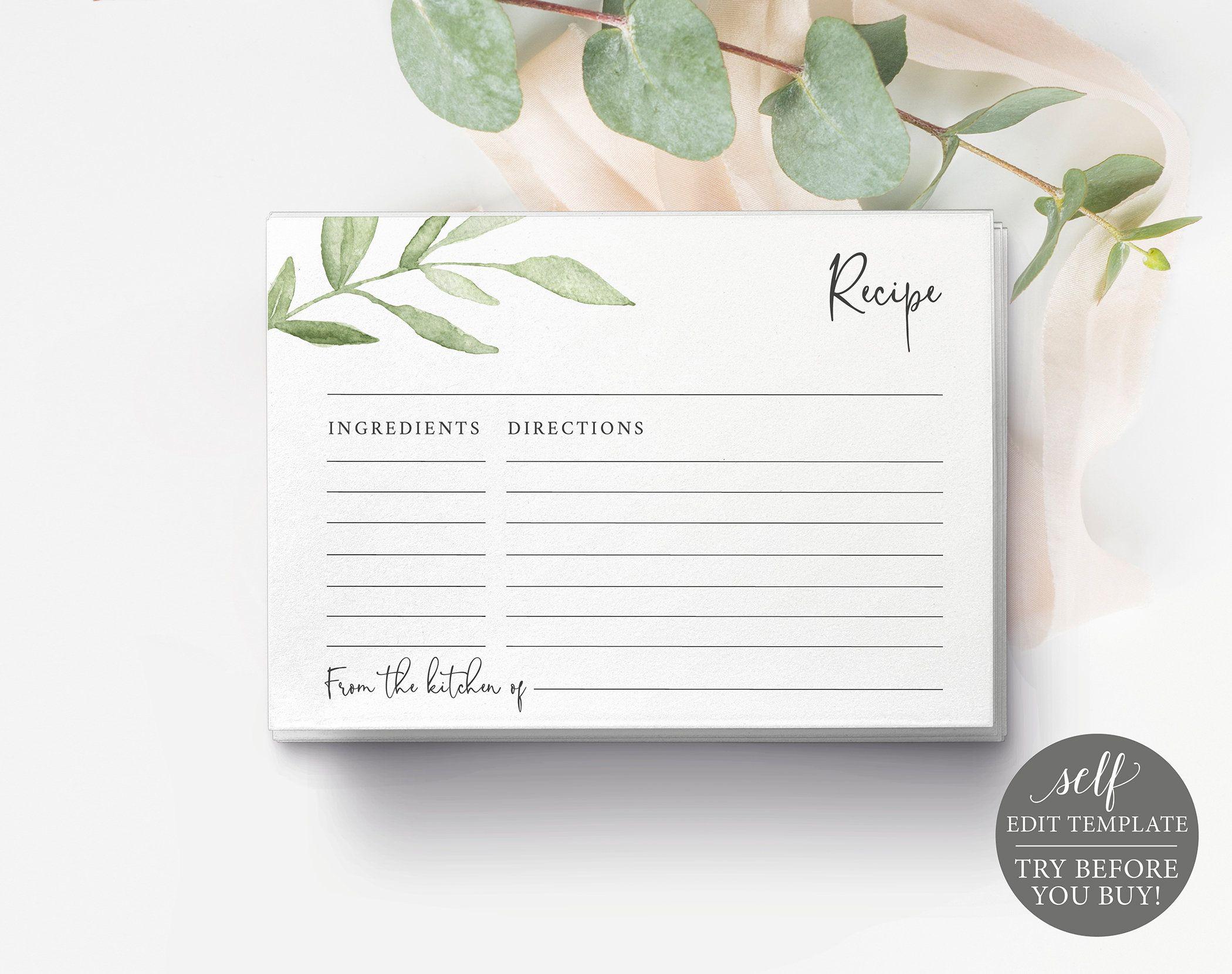 Recipe Card Template Greenery Leaves Editable Printable Etsy Recipe Cards Template Wedding Invitations Printable Templates Recipe Cards