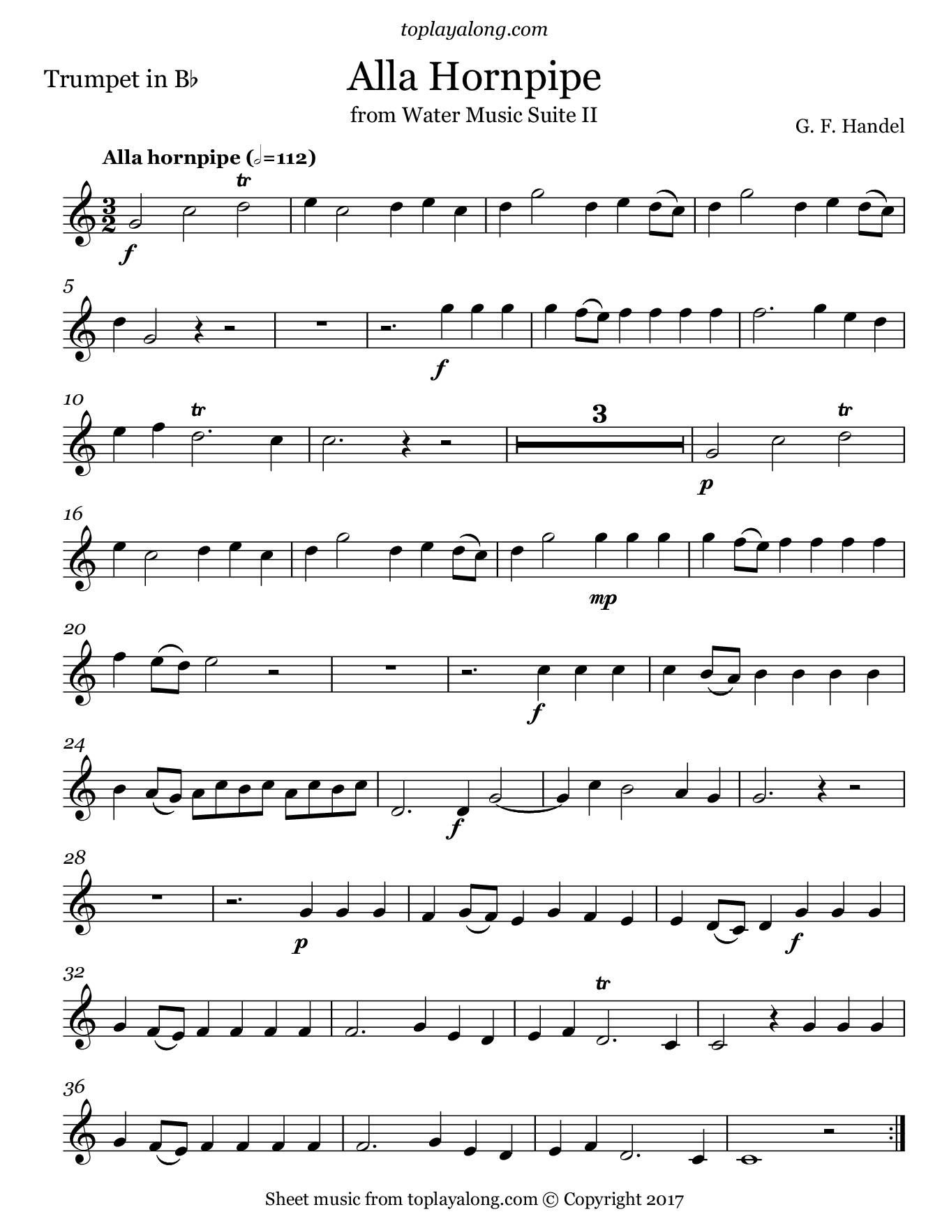 Free Trumpet Sheet Music For Alla Hornpipe From Water Music Suite Ii By Handel With Backing Tracks To Play Along Trumpet Sheet Music Flute Music Sheet Music