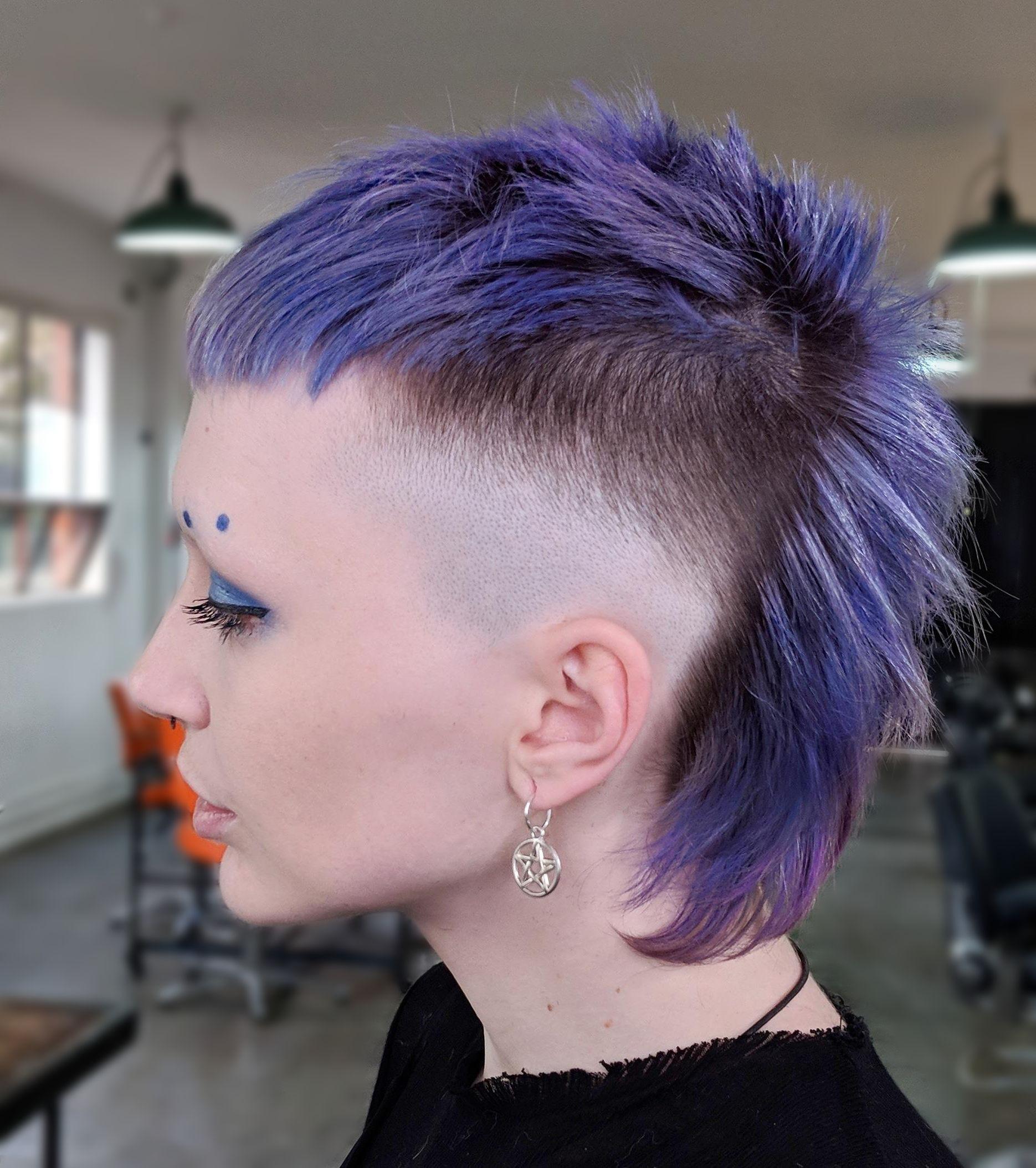 analog haircut $130 | purple hair ideas | fantasy hair color