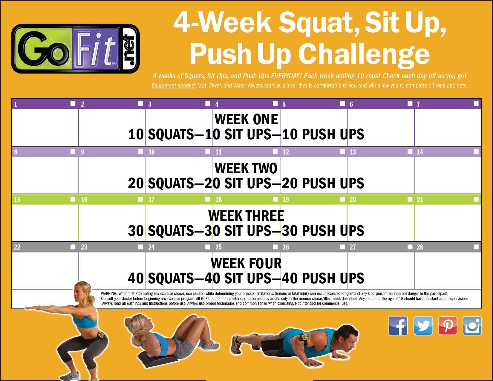 4 Week Squat Sit Ups And Push Ups Calendar Push Up Challenge Sit Up Push Up