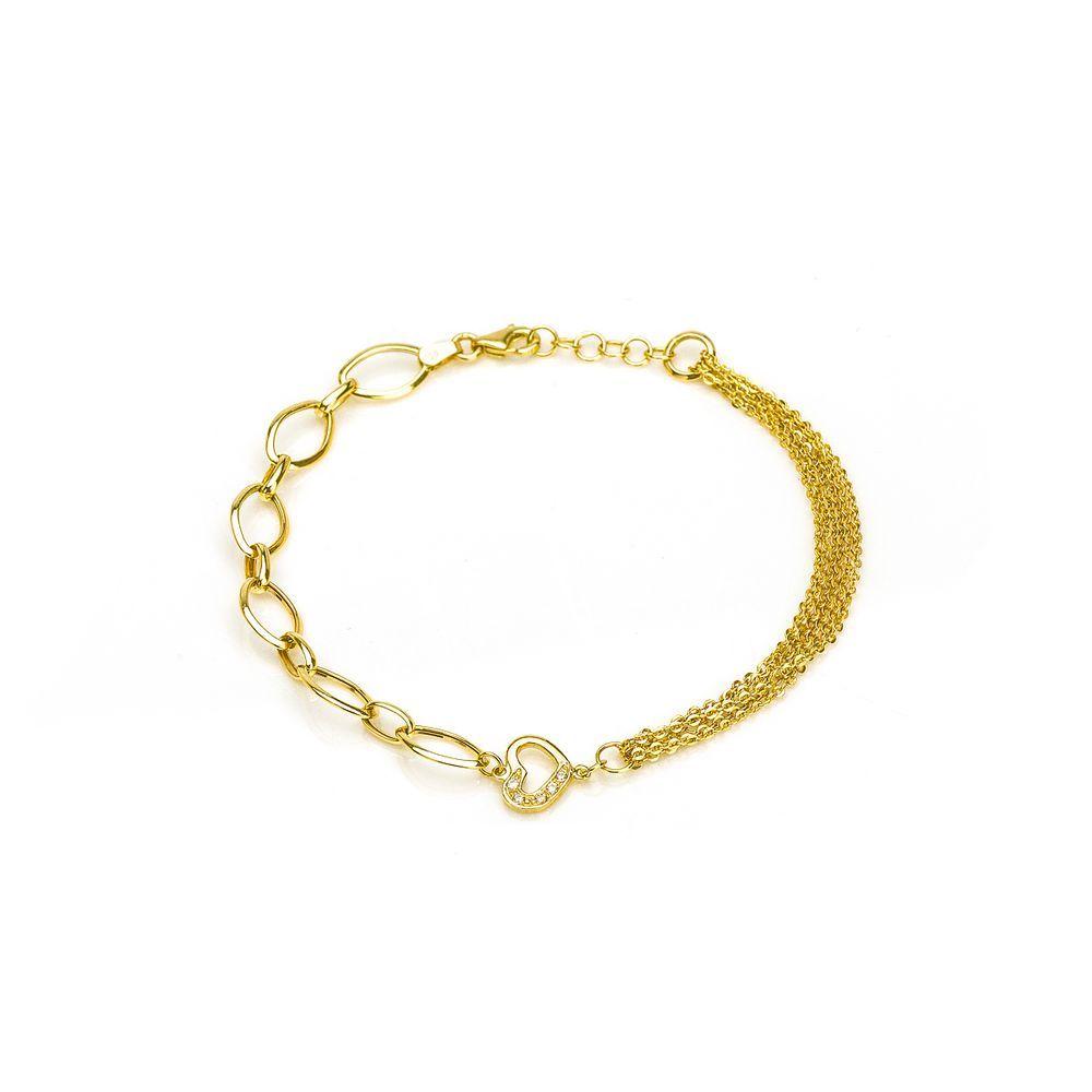 ceb15e63156 Pulseira em Ouro 18k Oval Coração Vazado com Zircônia 19cm pu04342 -  Joiasgold